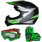 Leopard LEO-X19 PREDATOR Kids Motocross HELMET & GLOVES & GOGGLES Green M (51-52cm) Children Quad Bike ATV Go Karting Helmet