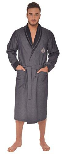 LEVERIE Men's Shawl Collar Long Sleeve Dressing Gown - Blue - Medium