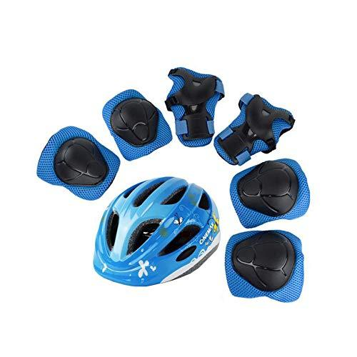 LF Children's Scooter Bike Helmet, Gel Knee, Elbow Pads and Hand Pads (Color : B)