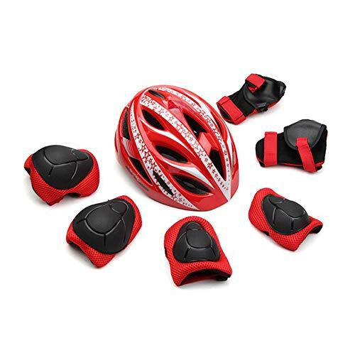 LF Children's Scooter Bike Helmet, Gel Knee, Elbow Pads and Hand Pads (Color : Red)