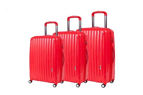 "LGO Luggage and Travel Gear with TSA and spinner wheels 3pcs 22"" 26"" 30"" oversize luggage sets (RED)"