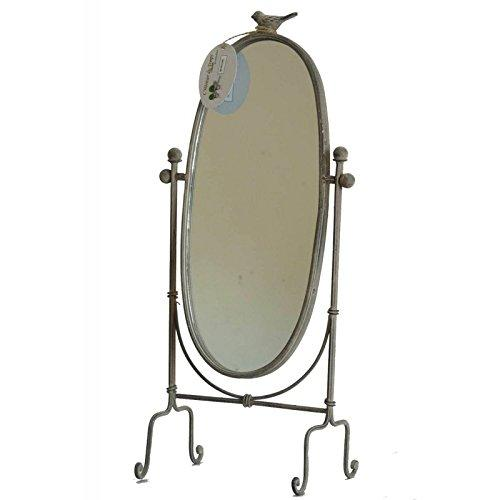 L'Héritier Du Temps Bird 14x22x47 cm Grey Iron Cheval Mirror Bedroom Bathroom Oval Mirror on Stand