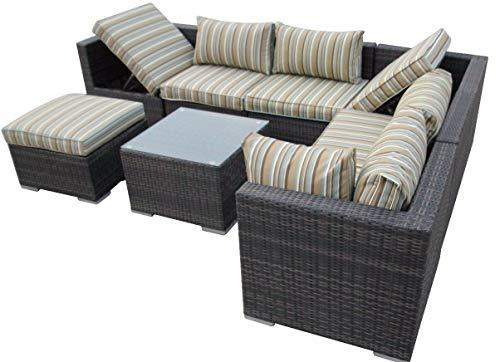 LIAN Combination Wicker Greenhouse Furniture Corner Terrace Sofa Rattan Weaving Garden Furniture Information (color : A)