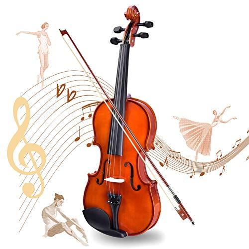 Lico 4/4 Solid Wood Violin with Case, Bow, Rosin, Bridge and Strings for Beginner Student