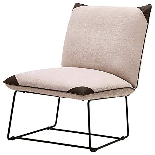LIFE CARVER Armchair Velvet Light Beige Lounge Chair Upholstered Chair Scandinavian Design with Brass Plated Gold Finish Steel Metal Frame for Living Room Bedroom Cafe (Beige)