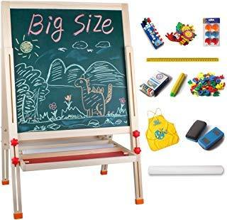 Life&Fun Kids Art Easel Large Adjustable Height Double-sided Drawing Board with Paper Roll and Accessories