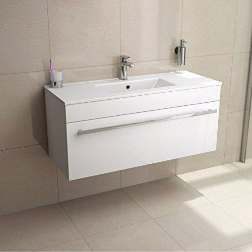 Lifestyle Wall Mounted Hung Vanity Unit with Basin 1000 Ceramic Sink Underbasin Cabinet Cupboard Bathroom Furniture White High Gloss (1000mm)