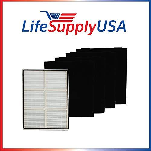 LifeSupplyUSA 50 Complete Sets for Whirlpool 1183054K (1183054) 50 HEPA Filters Plastic Frame and 200 Carbon Filters 8171434K 8171434 Fit Whispure Air Purifier Models AP350 AP450 AP510 AP45030HO