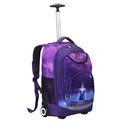 Lightweight Trolley Backpack School Travel Book Laptop 18 Inch Wheeled Backpack For Kids And Students,A