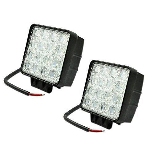 LIHAO 2x LED 48W Headlights Work Backup Lamp Offroad Car Spotlights 6500K IP67 16 LEDs (Floodlight 60 degrees)