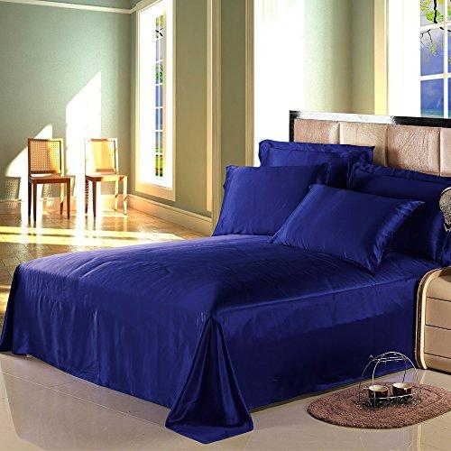 LILYSILK 100% Mulberry Silk Sheets Set 4pcs 19 Momme, Blue, Full