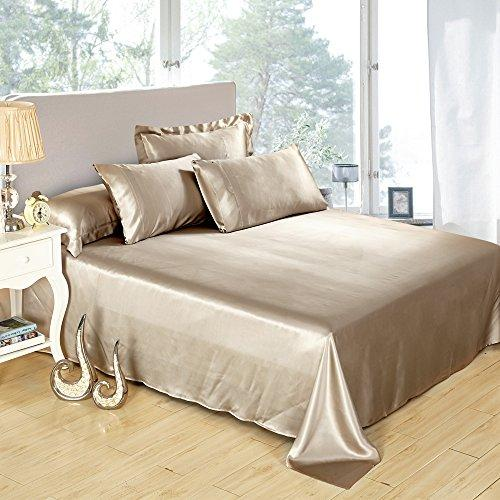LILYSILK 100% Mulberry Silk Sheets Set 4pcs 19 Momme Coffee Full