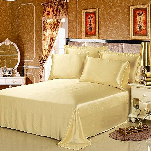 LILYSILK 100% Mulberry Silk Sheets Set 4pcs 19 Momme, Gold, Full