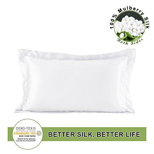 LILYSILK Silk Pillowcase Oxford 19 Momme Charmeuse Pure Mulberry Silk Fabric Double-side Pillow Case Cover Allergy White Standard 50x75 cm