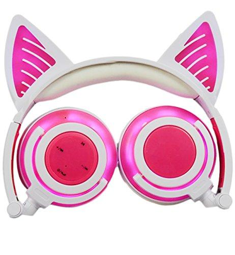 Limson Wireless Bluetooth Headphone Over Ear, Folding Cat Ear Headphones with Mic LED Light Glowing Kids Headsets Compatitive for Cellphones, iPad, iPhone, Laptop, Computer BTR107 (Pink 3.5mm)