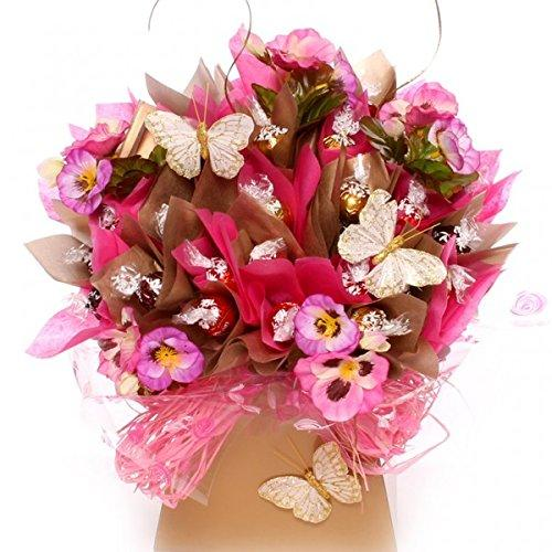 Lindor chocolate bouquet, a luxury Lindt Lindor chocolate bouquet containing an assortement of Lindor chocolates, available in three sizes, beautifully created with silk flowers and butterflies, FAST FREE DELIVERY