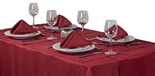 Linen Look Red 8 Place Setting Mega Package Tableware Set - Includes A 52in x 90in (132cm x 228cm) Oblong (Rectangular) Tablecloth - Napkins - Table Runner And Placemats. Sizes Approximate.