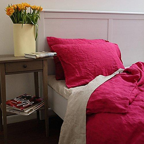 LinenMe Stone Washed Bed Linen Duvet Cover, 68 by 86-Inch, Pink
