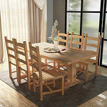 Lingjiushopping Set 7 Pieces Large Table and Chairs Dining Room in Teak Material: 100% Teak Wood with Bleached Finish Deck Size: 200 x 100 x 75 cm (L x W x H)