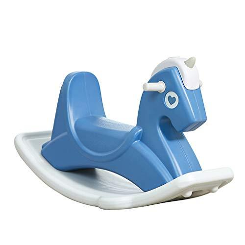 LINGLING-Pushchairs Children's Indoor Rocking Horse Plastic Toy Horse Balance Rocking Horse (color : Blue, Size : L)