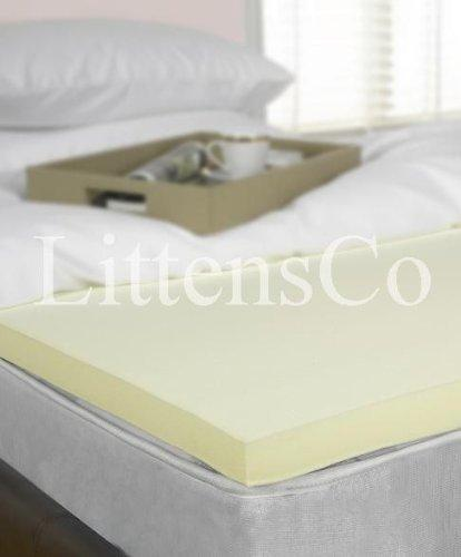 "Littens - 2"" Single Bed Size Memory Foam Mattress Topper Overlay, Visco 50mm 3ft"