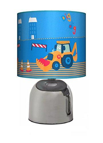 LITTLE DIGGER DIG DIG - BEDSIDE TOUCH LAMP - BOYS BEDROOM LIGHT / LAMP SHADE - NURSERY BLUE NEXT - MAINS OPERATED (UK PLUG)
