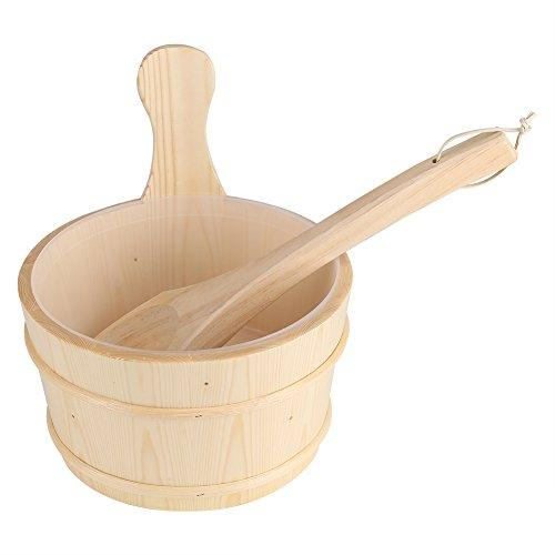 Liukouu Bathroom Natural Wooden Bucket + Ladle Set for Sauna SPA Bath Accessories