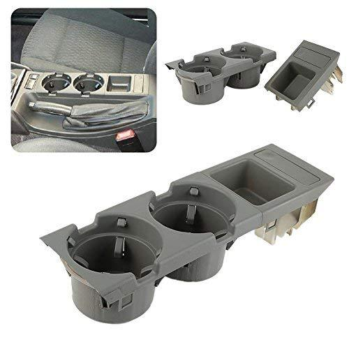 Livecity Car Center Console Drink Box Cup Tray Holder Coin Storage Container for BMW E46 3 Series (Grey)