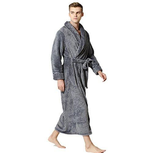 LJ Sport Mens Nightgown Winter Flannel Fleece Dressing Gown Full Long Fluffy Loungewear Bathrobe (Grey, L)