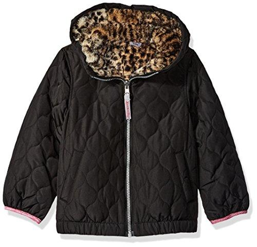 London Fog Girls' Reversible Quilted Midweight Jacket Down Alternative, Black Cheetah 2 Years