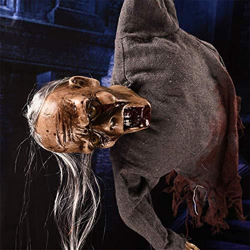 Long Hair Electric Halloween Hanging Ghost Scary Skull For Haunted