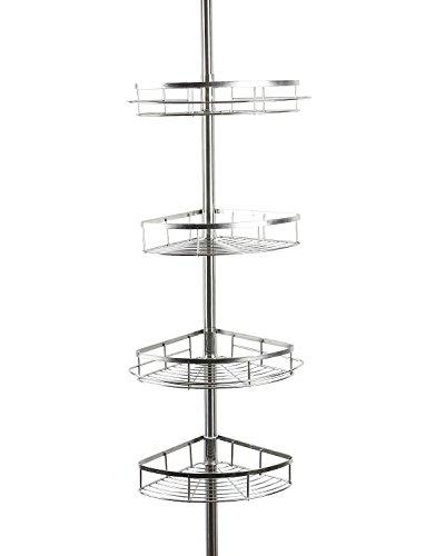 Lonior Bathroom Corner Shelves Telescopic Shower Caddy Stainless Steel Adjustable Shower Shelf Shelves Bathroom Shower Storage Organiser Pole Height 1.1 to 2.8m with 4 Tier Storage Basket 2 Towel Bar