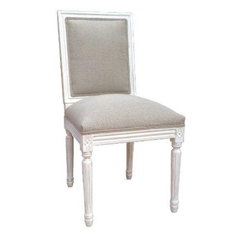 Louis Style Square Back Chair for Dining Room Chair. Upholstered in Natural Linen. White Distressed Finish. FULL RANGE OF MATCHING FURNITURE IS AVAILABLE FOR BEDROOM, LIVING ROOM, KITCHEN, DINING ROOM, BATHROOM & HALL