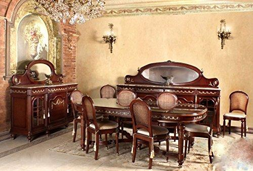 LouisXV baroque dining room antique style Replikat glass cabinet sideboard table chairs