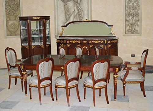 LouisXV baroque dining room antique style Replikat vitrina glass cabinet sideboard table chairs MoEs1441b