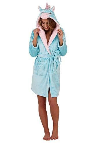 Loungeable Womens Unicorn Hooded Dressing Gown Aqua - Large - UK 16-18
