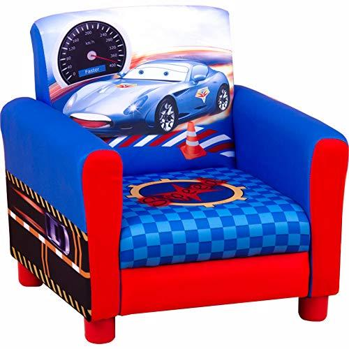 Love Home Kid armrest, Cartoon car Kid sofa Upholstered open foam Child sofa chair Toddler furniture for living playing room -blue 31x31x20cm(12x12x8)