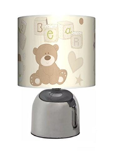 LOVED SO MUCH BEAR - BEDSIDE TOUCH LAMP - BOYS / GIRLS BEDROOM LIGHT / LAMP SHADE - CREAM NURSERY - MAINS OPERATED (UK PLUG)