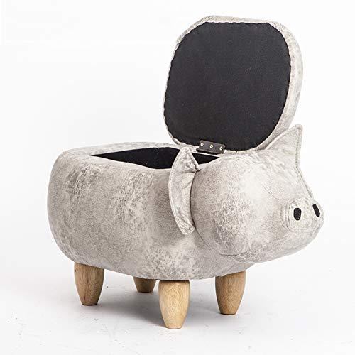 LoveHouse Upholstered Ride-on Pig Storage ottoman Footrest stool With vivid adorable animal-like features creative for kids and adults -Light gray