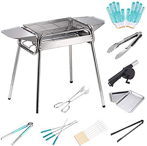 LQUIDE Barbecue Grill Stainless Steel Bbq Charcoal Grill Smoker 9 Barbeque Tools Folding For Outdoor Cooking Camping Hiking Picnics Backpacking Large 5-10 People