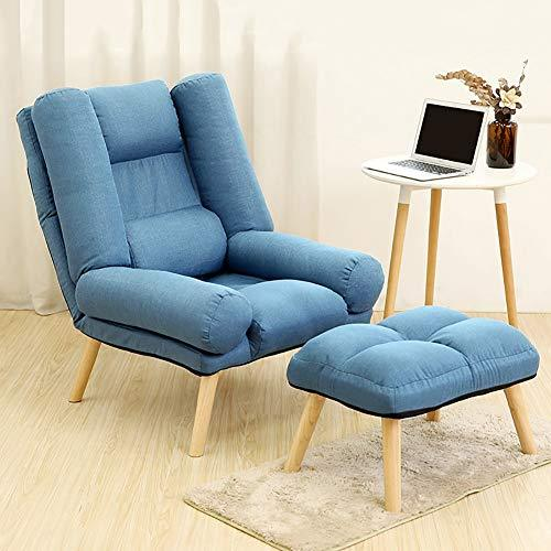 LRSFM Adjustable Lazy Single Sofa Chair Foldable Breast-feeding Reading Couch Beds Lounge Chair with Footstool (color : Deep Blue)