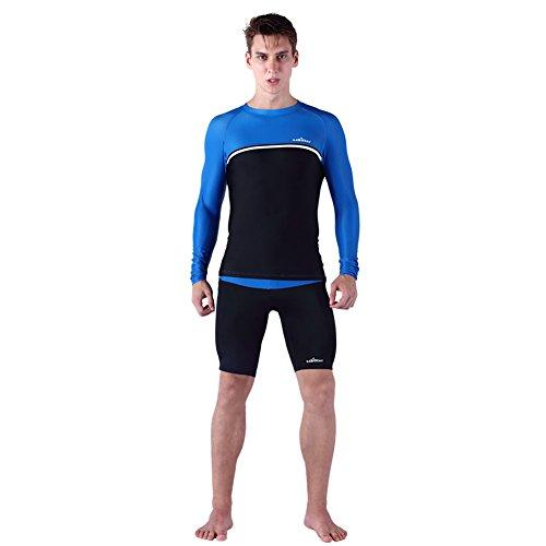 LSERVER Men´s Fitness Watersports Wet Suits Quick-Dry Jumpsuit Summer Sun-proof Surfing Diving Bodyboarding Clothing Long Sleeve + Thin Shorts