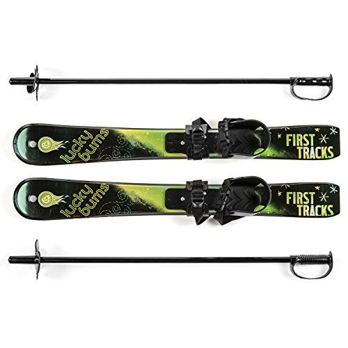 Lucky Bums Plastic Kid's Snow Skis with Poles-Green/Black, 70 cm