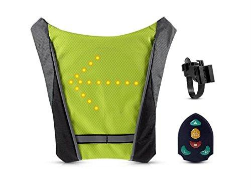 LUCKY-U Cycling Waterproof Backpack Vest with High Visibility LED Safety Turn Signal Light Wireless Remote Control