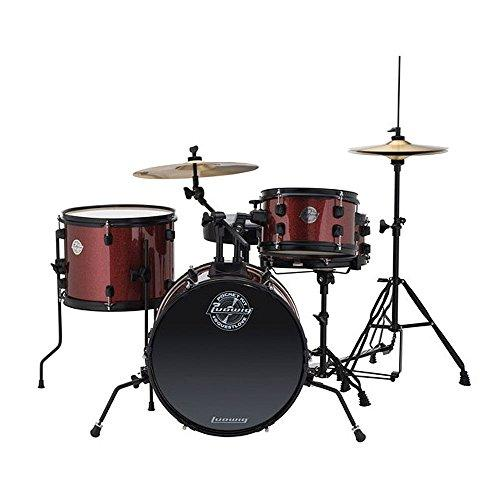 Ludwig LC178X025 Questlove Pocket Kit 4 Piece Drum Set Red Wine Sparkle Finish