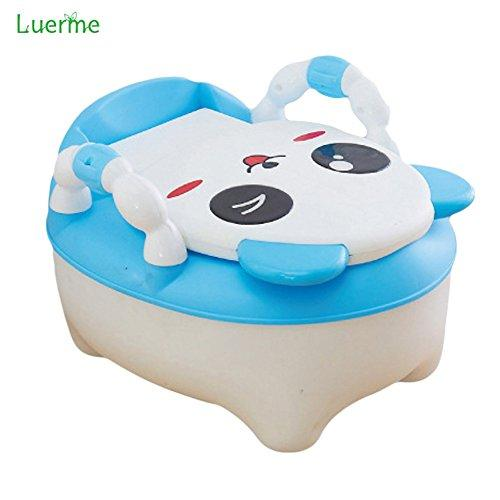 Luerme 3-in-1 Baby Kids Potty Chair Step Stool Cute Panda Style Baby Travel Toilet, Portable Removable Drawer Design with Safety Handles (Blue)