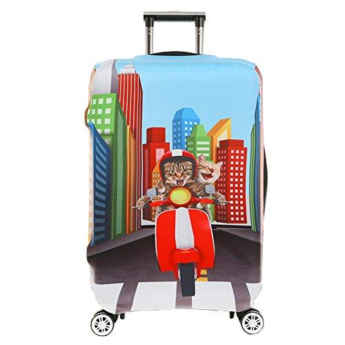 Luggage Cover Protective SINOKAL 3D Suitcase Protector Covers with Zipper for Travel 20 24 26 28 29 30 31 inch (Only Cover) (XL(29''-32''), Motorcycle Cat)