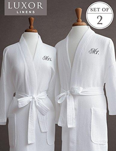 Luxor Linens Mr. & Mrs. Couple's Waffle Weave Bathrobe Set - 100% Egyptian Cotton - Unisex/One Size Fits Most Spa Robe Luxurious Soft Plush Elegant Script Embroidery Perfect Wedding Gift Mr. & Mrs.