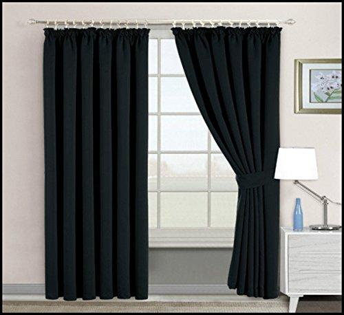 "Luxurious Blackout Curtains Pair Fully Lined Thermal Ring Top & Pencil Pleat+Tiebacks (Black Pencil Pleat Curtain, 90"" x 72"")"