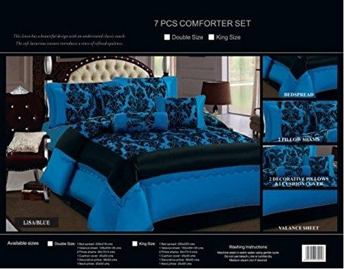 Luxurious Stylish 7pcs Damask Flock Quilted Bedspread Complete Bedding Duvet Set Includes 1 x Bedspread, 2 x Pillow shams, 1 x Base Valance Sheet, 1 x Cushion Cover, 1 x Decorative Pillow, 1 x Neck Roll Pillow. ( King 255 x 225, Blue)